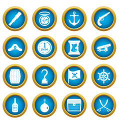 Pirate icons blue circle set vector