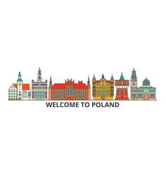 Poland outline skyline polish flat thin line vector