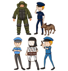 Policeman in different uniforms vector