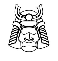 Samurai face mask japanese warrior image line vector