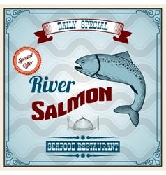 Seafood retro poster vector
