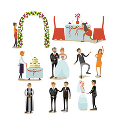 set of wedding concept icons flat style vector image