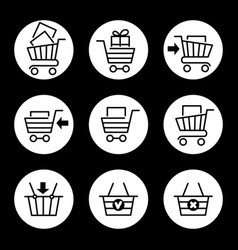 Shopping cart icons in circles vector