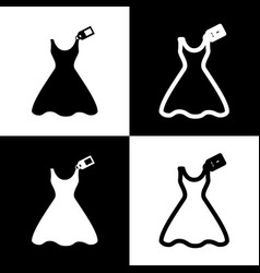 Woman dress sign with tag black and white vector