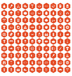 100 barbecue icons hexagon orange vector
