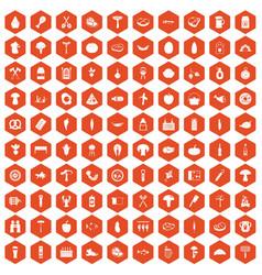 100 barbecue icons hexagon orange vector image vector image