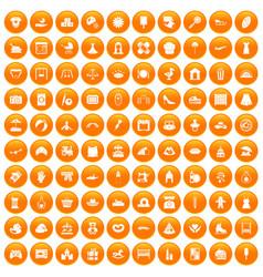 100 motherhood icons set orange vector