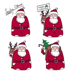 Cartoons santa claus with gifts and reindeer vector