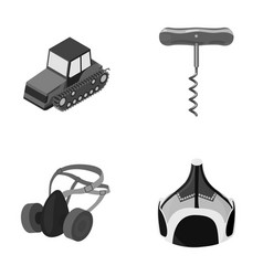 Tractor corkscrew and other monochrome icon in vector