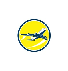 Commercial jet plane airline circle retro vector