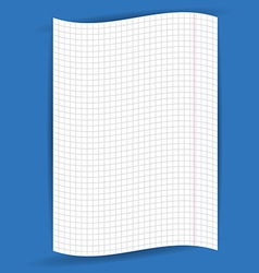 Checkered notebook paper on blue background vector