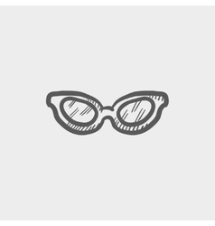 Retro cat eyeglasses sketch icon vector