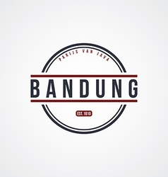 Bandung badge indonesia label theme vector