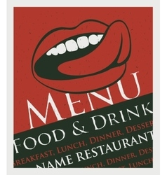 menu with a picture of the human mouth to lick vector image