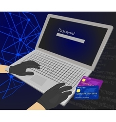 Hacker enters password with credit cards vector