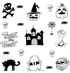 Halloween castle cat zombie doodle vector