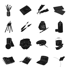 Artist and drawing set icons in black style big vector