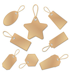 Blank vintage brown paper price tags with strings vector