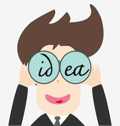 Business man looking idea vector