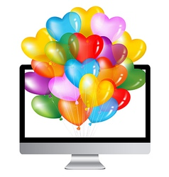 Computer with colorful balloons vector