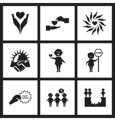 Concept flat icons in black and white friendship vector