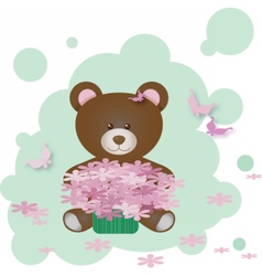 Cute Teddy Bear holding flowers vector image