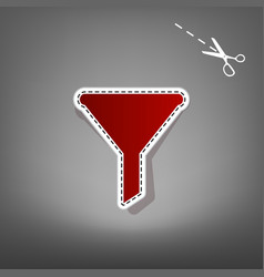 Filter simple sign red icon with for vector