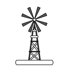 Flat line windmill design vector