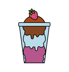 glass cup with ice cream balls and strawberry vector image