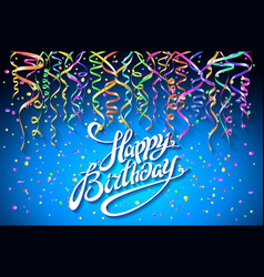 happy birthday greeting card on blue background vector image