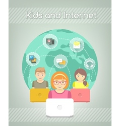 Kids on Internet World Over vector image vector image