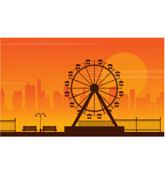 landscape amusement park silhouette style vector image vector image