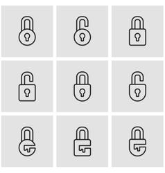 line locks icon set vector image vector image