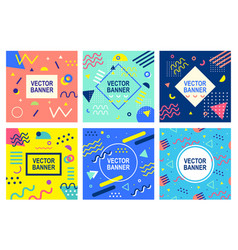 memphis style banner templates collection vector image
