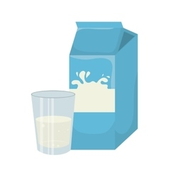 Milk box with glass vector