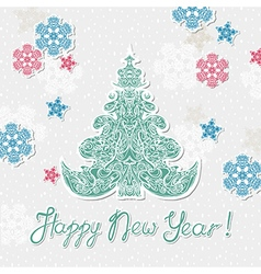 new year template poster with snowflakes and tree vector image vector image