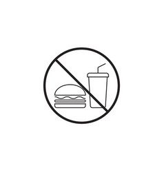 no food line icon no eating prohibited sign vector image vector image