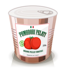organic peeled tomatoes in can vector image vector image