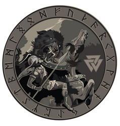 Ragnarok battle of the god odin with the wolf vector