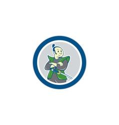 Samurai warrior arms folded circle cartoon vector