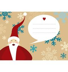 Santa claus merry christmas greeting card snow vector
