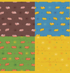 Set of seamless patterns with funny pigs vector