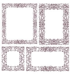 Set vintage frame with floral ornament vector