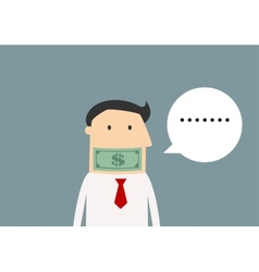 Silent businessman gagged with money vector