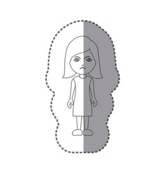 Sticker silhouette caricature angry woman with vector