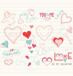 Valentine day love hearts doodle decoration vector