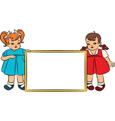 Young kids with banner vector image
