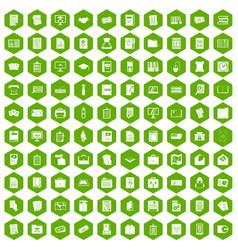 100 document icons hexagon green vector