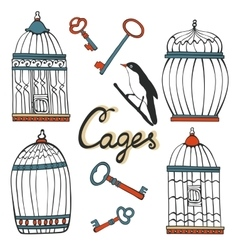 Beautiful collection of hand drawn cages vector image