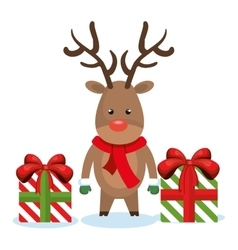 Reindeer box gifts christmas isolated vector